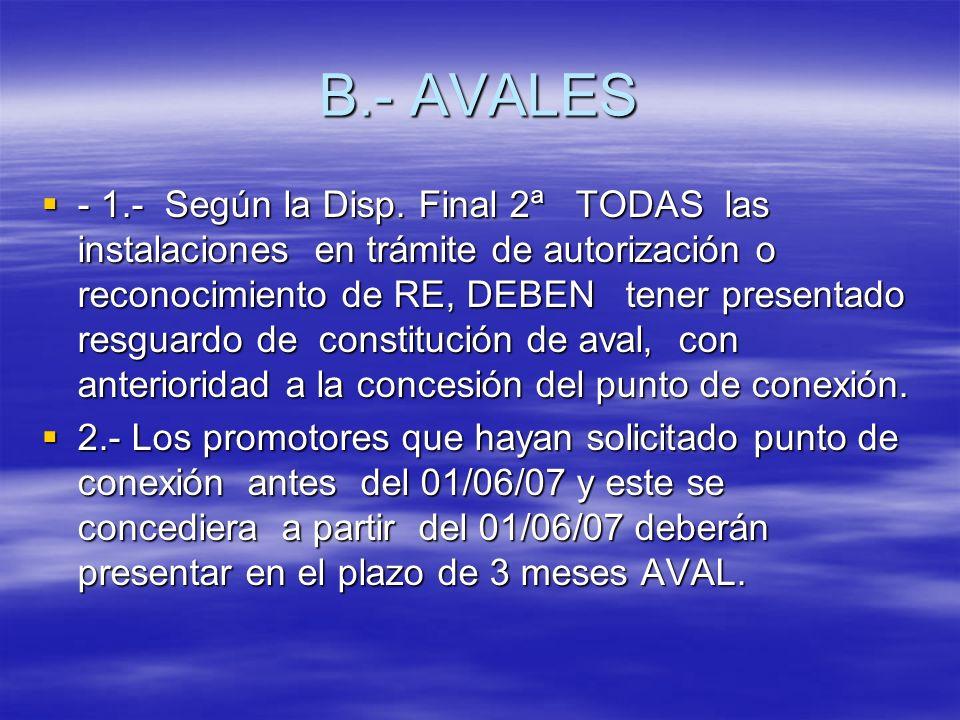 B.- AVALES - 1.- Según la Disp. Final 2ª TODAS las instalaciones en trámite de autorización o reconocimiento de RE, DEBEN tener presentado resguardo d