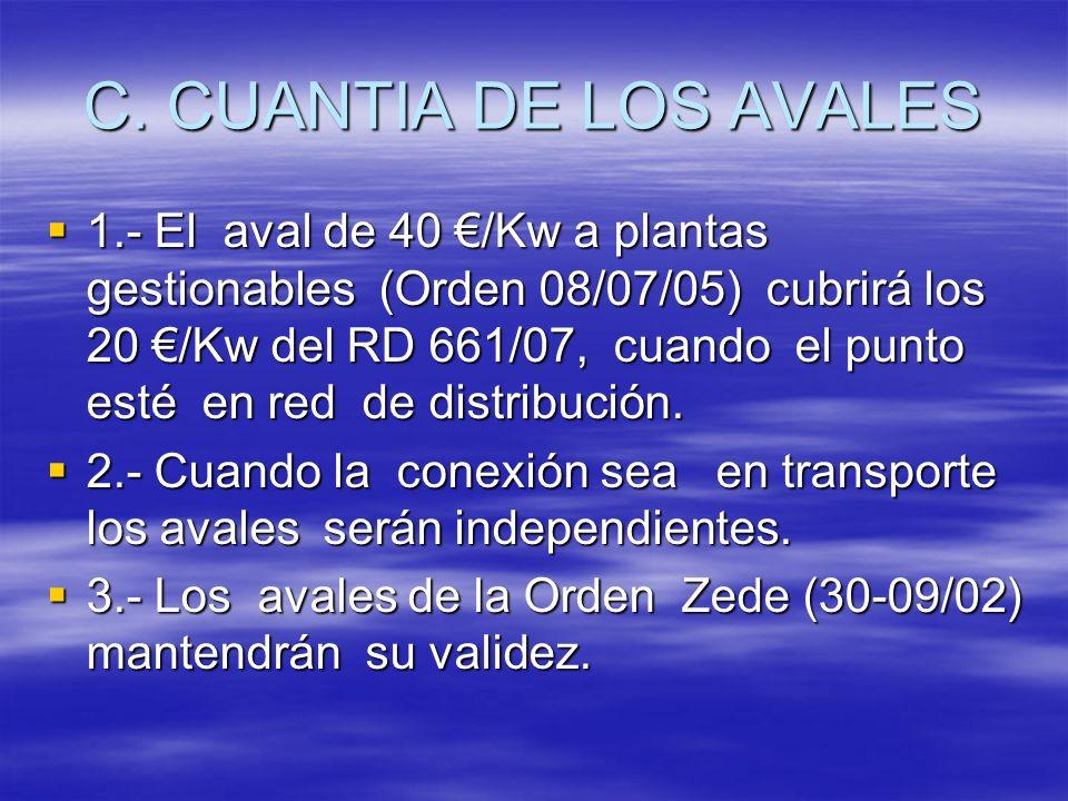 C. CUANTIA DE LOS AVALES 1.- El aval de 40 /Kw a plantas gestionables (Orden 08/07/05) cubrirá los 20 /Kw del RD 661/07, cuando el punto esté en red d