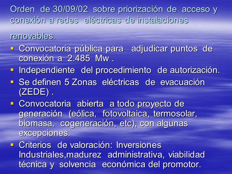 Orden de 30/09/02 sobre priorización de acceso y conexión a redes eléctricas de instalaciones renovables. Convocatoria pública para adjudicar puntos d