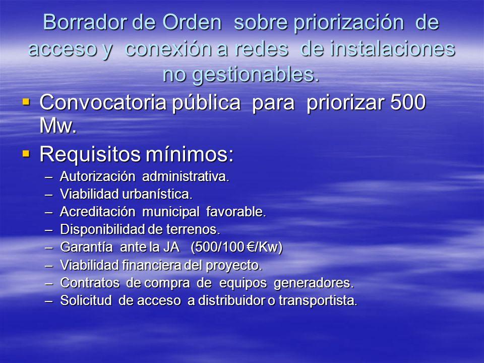Borrador de Orden sobre priorización de acceso y conexión a redes de instalaciones no gestionables. Convocatoria pública para priorizar 500 Mw. Convoc
