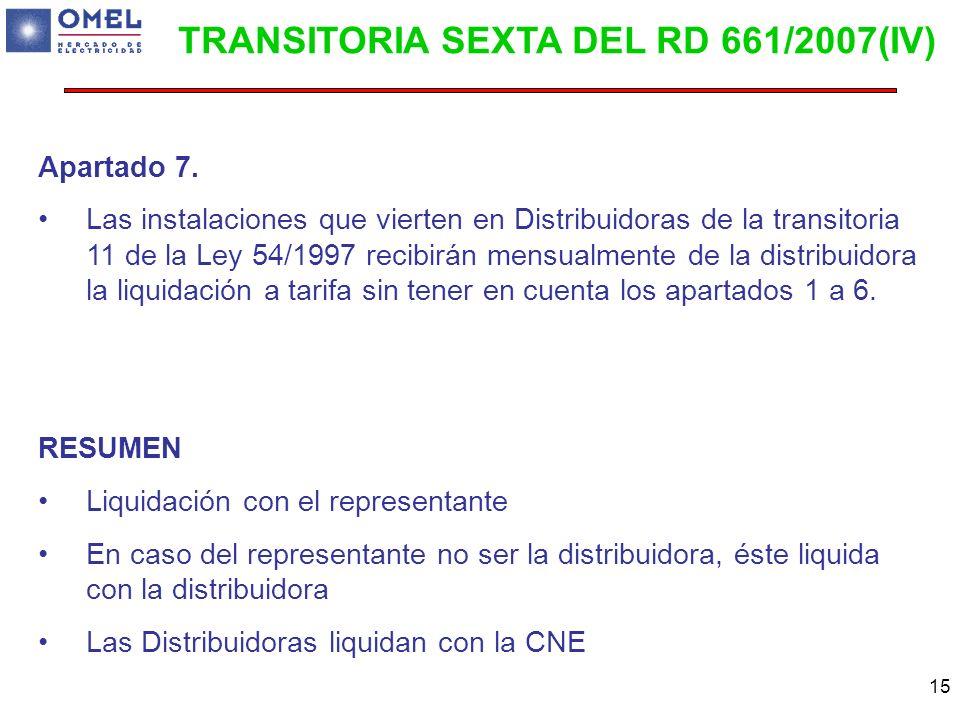 15 Apartado 7. Las instalaciones que vierten en Distribuidoras de la transitoria 11 de la Ley 54/1997 recibirán mensualmente de la distribuidora la li