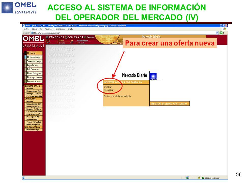 36 Para crear una oferta nueva ACCESO AL SISTEMA DE INFORMACIÓN DEL OPERADOR DEL MERCADO (IV)