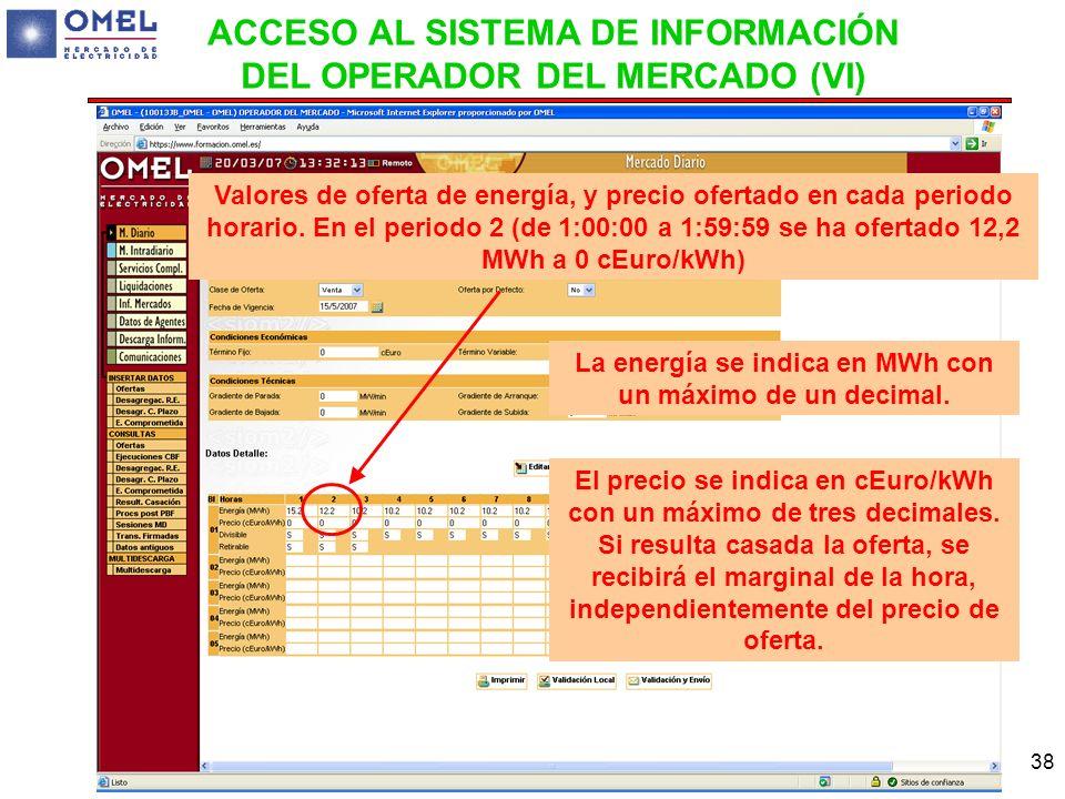 38 Valores de oferta de energía, y precio ofertado en cada periodo horario. En el periodo 2 (de 1:00:00 a 1:59:59 se ha ofertado 12,2 MWh a 0 cEuro/kW