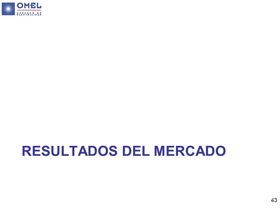 43 RESULTADOS DEL MERCADO