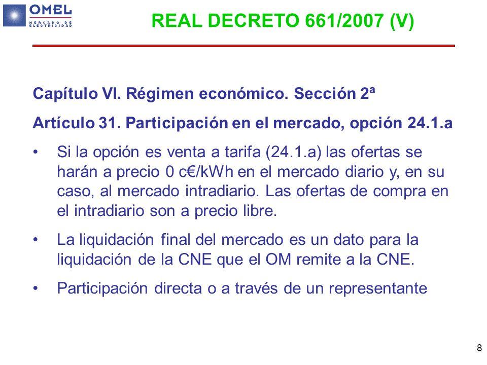 8 Capítulo VI. Régimen económico. Sección 2ª Artículo 31. Participación en el mercado, opción 24.1.a Si la opción es venta a tarifa (24.1.a) las ofert
