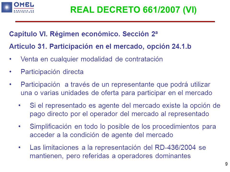 9 Capítulo VI. Régimen económico. Sección 2ª Artículo 31. Participación en el mercado, opción 24.1.b Venta en cualquier modalidad de contratación Part