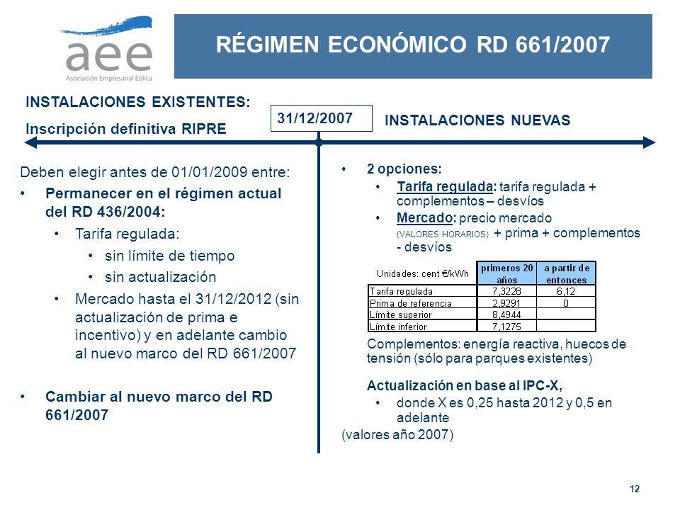 12 RÉGIMEN ECONÓMICO RD 661/2007 2 opciones: Tarifa regulada: tarifa regulada + complementos – desvíos Mercado: precio mercado (VALORES HORARIOS) + prima + complementos - desvíos Complementos: energía reactiva, huecos de tensión (sólo para parques existentes) Actualización en base al IPC-X, donde X es 0,25 hasta 2012 y 0,5 en adelante (valores año 2007) Deben elegir antes de 01/01/2009 entre: Permanecer en el régimen actual del RD 436/2004: Tarifa regulada: sin límite de tiempo sin actualización Mercado hasta el 31/12/2012 (sin actualización de prima e incentivo) y en adelante cambio al nuevo marco del RD 661/2007 Cambiar al nuevo marco del RD 661/2007 INSTALACIONES EXISTENTES: Inscripción definitiva RIPRE INSTALACIONES NUEVAS 31/12/2007