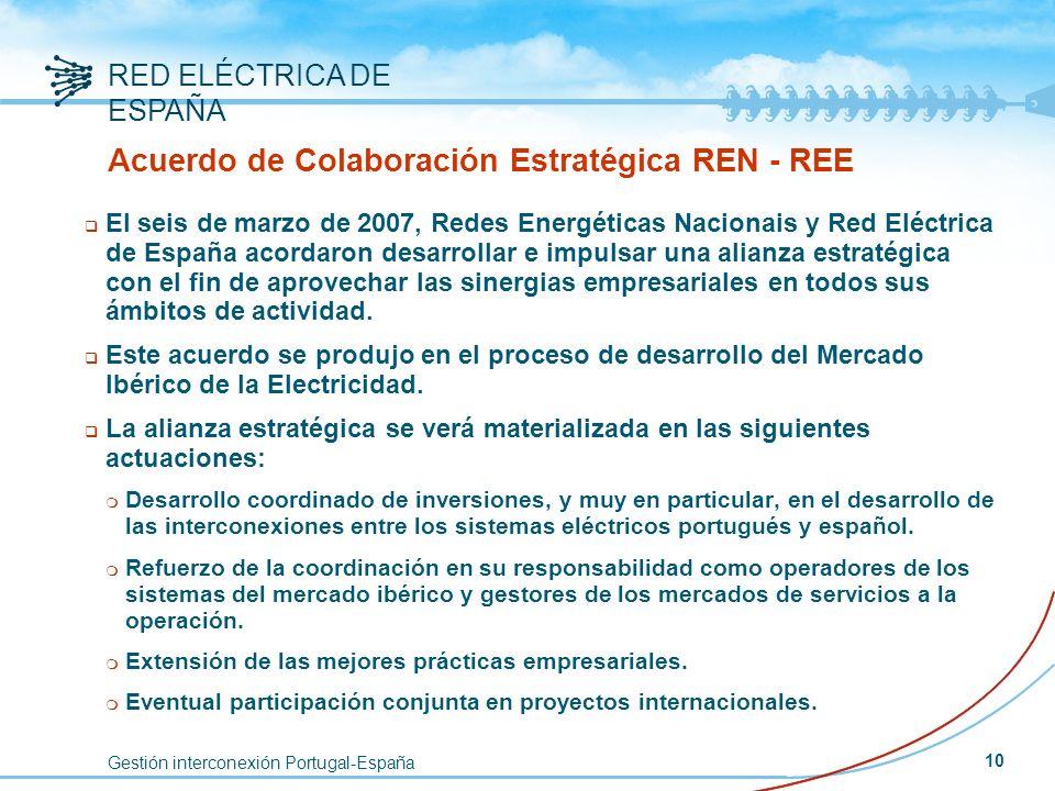 Gestión interconexión Portugal-España RED ELÉCTRICA DE ESPAÑA 10 Acuerdo de Colaboración Estratégica REN - REE q El seis de marzo de 2007, Redes Energ