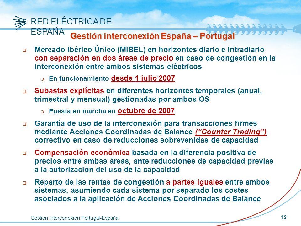 Gestión interconexión Portugal-España RED ELÉCTRICA DE ESPAÑA 12 Gestión interconexión España – Portugal q Mercado Ibérico Único (MIBEL) en horizontes