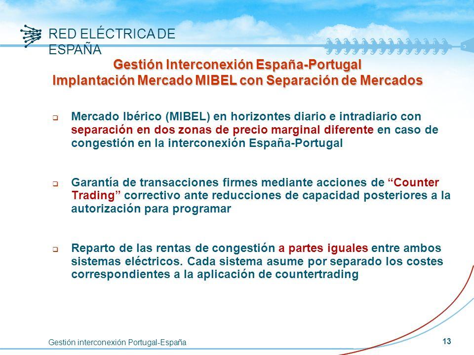 Gestión interconexión Portugal-España RED ELÉCTRICA DE ESPAÑA 13 q Mercado Ibérico (MIBEL) en horizontes diario e intradiario con separación en dos zo