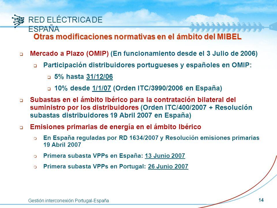 Gestión interconexión Portugal-España RED ELÉCTRICA DE ESPAÑA 14 q Mercado a Plazo (OMIP) (En funcionamiento desde el 3 Julio de 2006) q Participación
