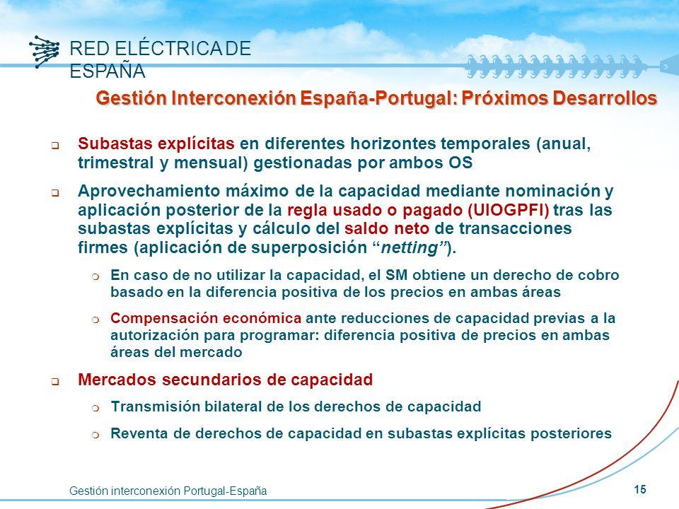 Gestión interconexión Portugal-España RED ELÉCTRICA DE ESPAÑA 15 q Subastas explícitas en diferentes horizontes temporales (anual, trimestral y mensua