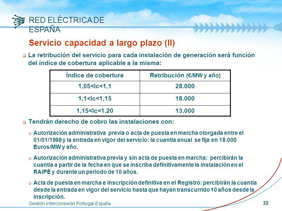 Gestión interconexión Portugal-España RED ELÉCTRICA DE ESPAÑA 22 Servicio capacidad a largo plazo (II) q La retribución del servicio para cada instala