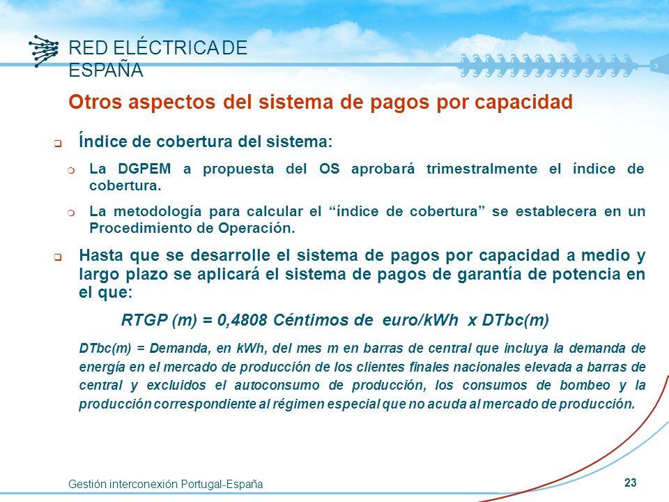 Gestión interconexión Portugal-España RED ELÉCTRICA DE ESPAÑA 23 Otros aspectos del sistema de pagos por capacidad q Índice de cobertura del sistema: