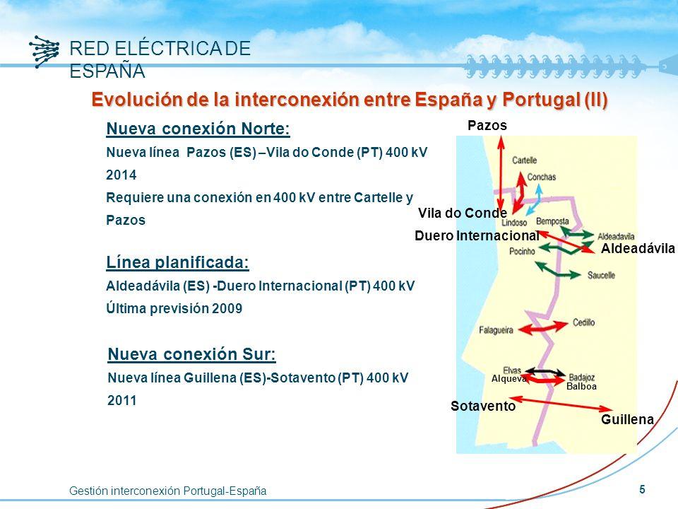 Gestión interconexión Portugal-España RED ELÉCTRICA DE ESPAÑA 5 Nueva conexión Norte: Nueva línea Pazos (ES) –Vila do Conde (PT) 400 kV 2014 Requiere