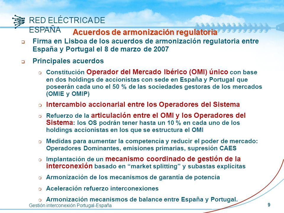 Gestión interconexión Portugal-España RED ELÉCTRICA DE ESPAÑA 9 Acuerdos de armonización regulatoria q Firma en Lisboa de los acuerdos de armonización