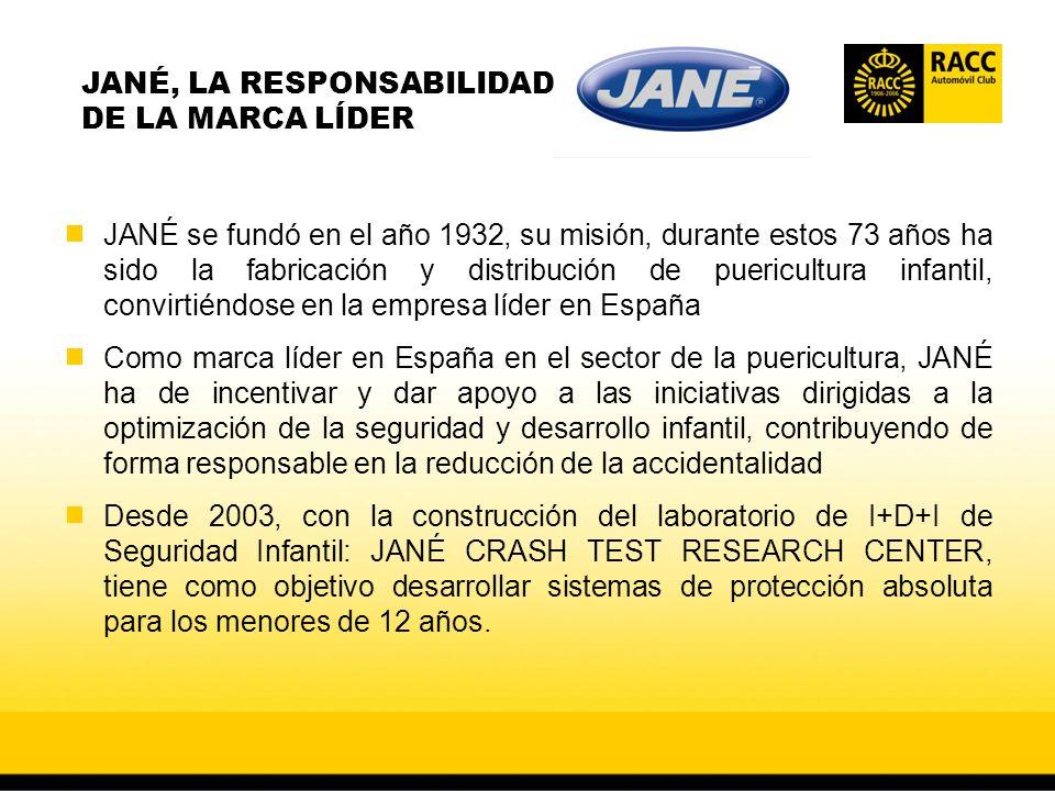 JANÉ se fundó en el año 1932, su misión, durante estos 73 años ha sido la fabricación y distribución de puericultura infantil, convirtiéndose en la empresa líder en España Como marca líder en España en el sector de la puericultura, JANÉ ha de incentivar y dar apoyo a las iniciativas dirigidas a la optimización de la seguridad y desarrollo infantil, contribuyendo de forma responsable en la reducción de la accidentalidad Desde 2003, con la construcción del laboratorio de I+D+I de Seguridad Infantil: JANÉ CRASH TEST RESEARCH CENTER, tiene como objetivo desarrollar sistemas de protección absoluta para los menores de 12 años.