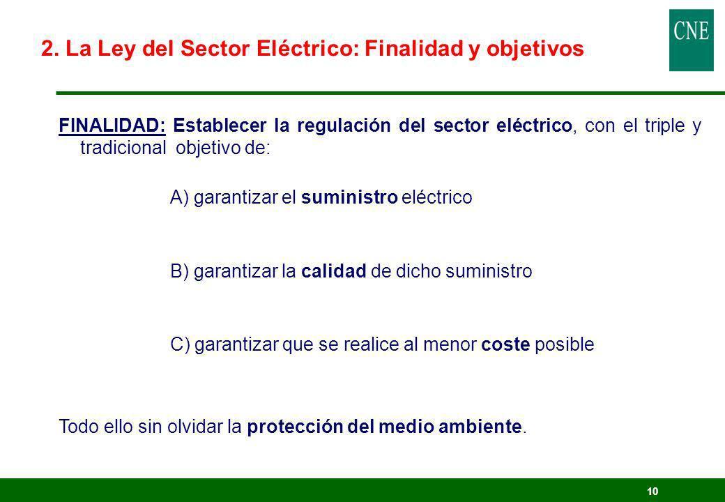 10 2. La Ley del Sector Eléctrico: Finalidad y objetivos FINALIDAD: Establecer la regulación del sector eléctrico, con el triple y tradicional objetiv