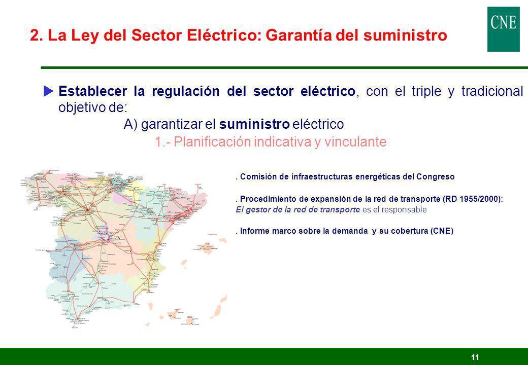 11 Establecer la regulación del sector eléctrico, con el triple y tradicional objetivo de: A) garantizar el suministro eléctrico 1.- Planificación ind