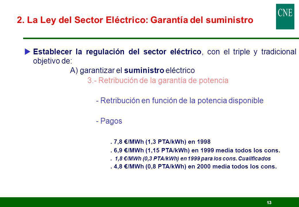 13 Establecer la regulación del sector eléctrico, con el triple y tradicional objetivo de: A) garantizar el suministro eléctrico 3.- Retribución de la
