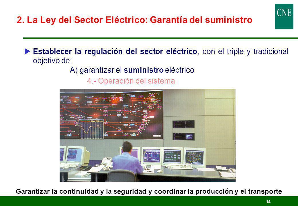 14 Establecer la regulación del sector eléctrico, con el triple y tradicional objetivo de: A) garantizar el suministro eléctrico 4.- Operación del sis