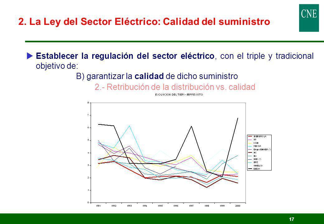 17 Establecer la regulación del sector eléctrico, con el triple y tradicional objetivo de: B) garantizar la calidad de dicho suministro 2.- Retribució