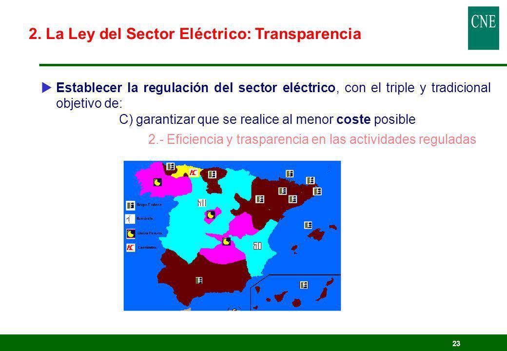 23 Establecer la regulación del sector eléctrico, con el triple y tradicional objetivo de: C) garantizar que se realice al menor coste posible 2.- Efi