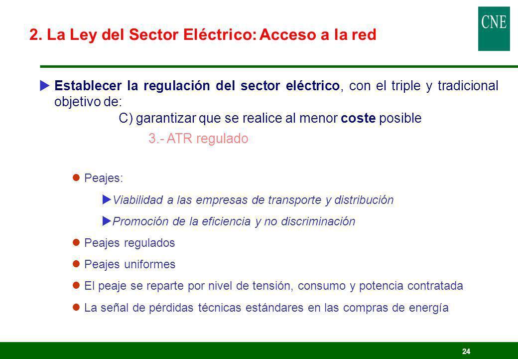 24 Establecer la regulación del sector eléctrico, con el triple y tradicional objetivo de: C) garantizar que se realice al menor coste posible 3.- ATR