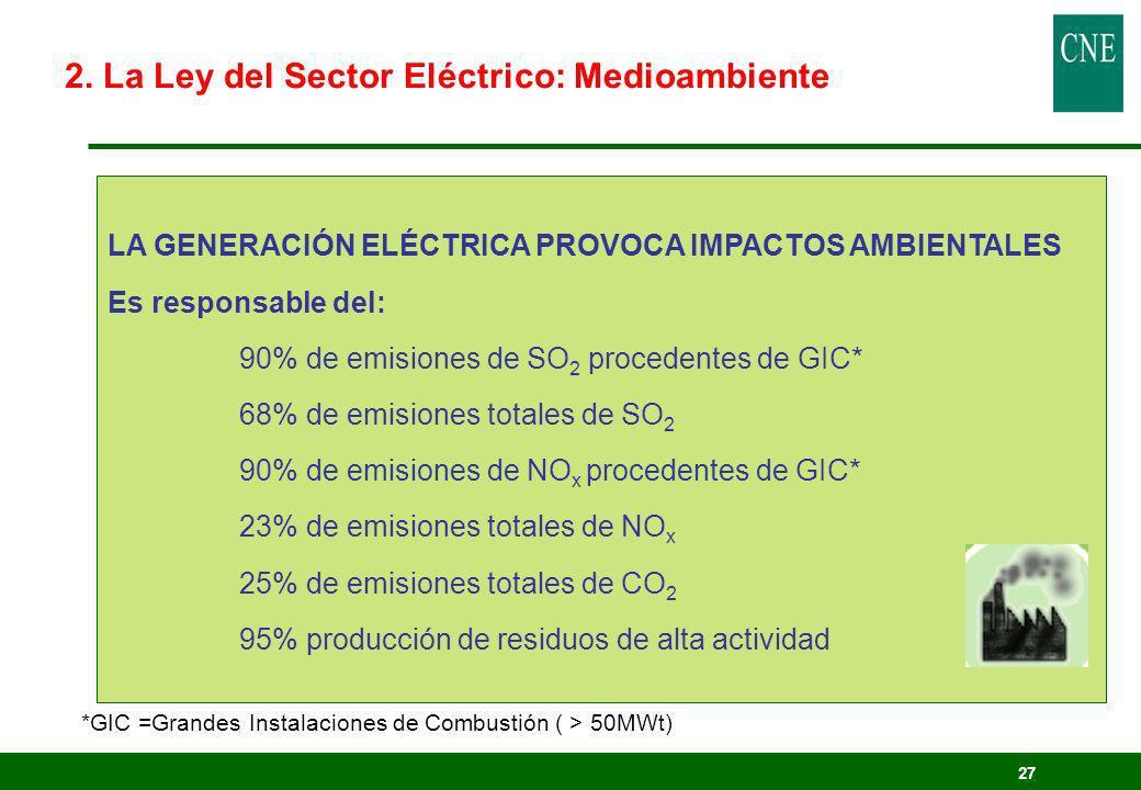 27 LA GENERACIÓN ELÉCTRICA PROVOCA IMPACTOS AMBIENTALES Es responsable del: 90% de emisiones de SO 2 procedentes de GIC* 68% de emisiones totales de S