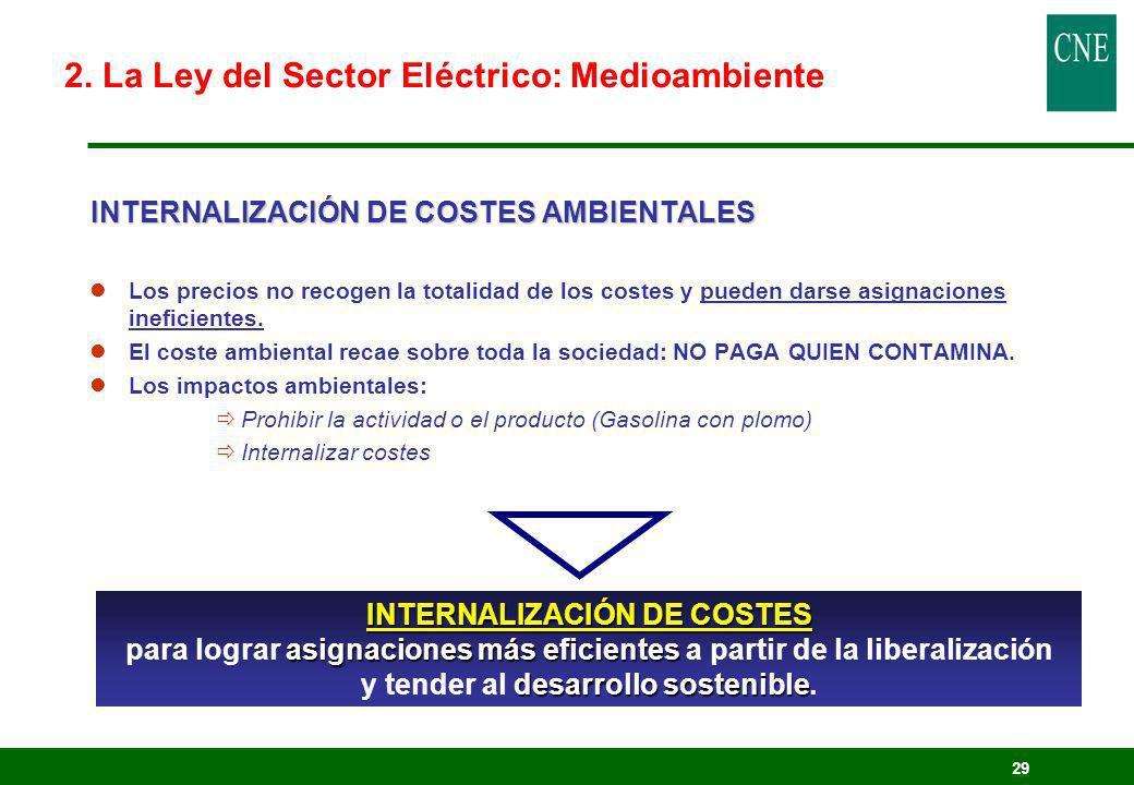 29 INTERNALIZACIÓN DE COSTES AMBIENTALES lLos precios no recogen la totalidad de los costes y pueden darse asignaciones ineficientes. lEl coste ambien