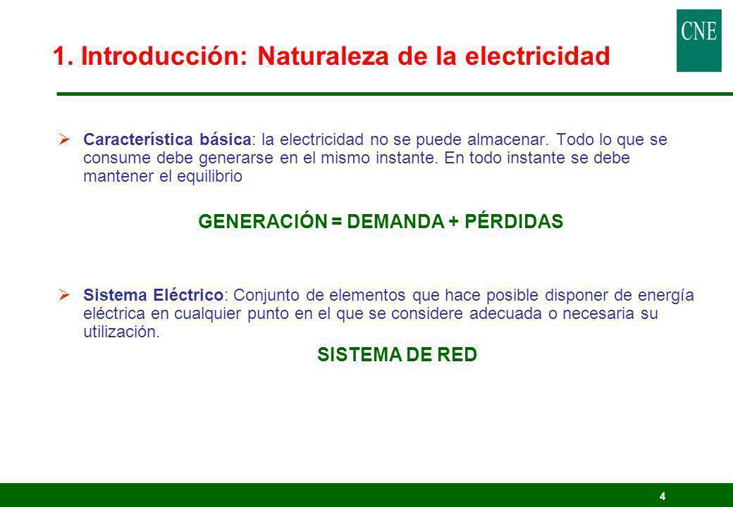 4 1. Introducción: Naturaleza de la electricidad Característica básica: la electricidad no se puede almacenar. Todo lo que se consume debe generarse e