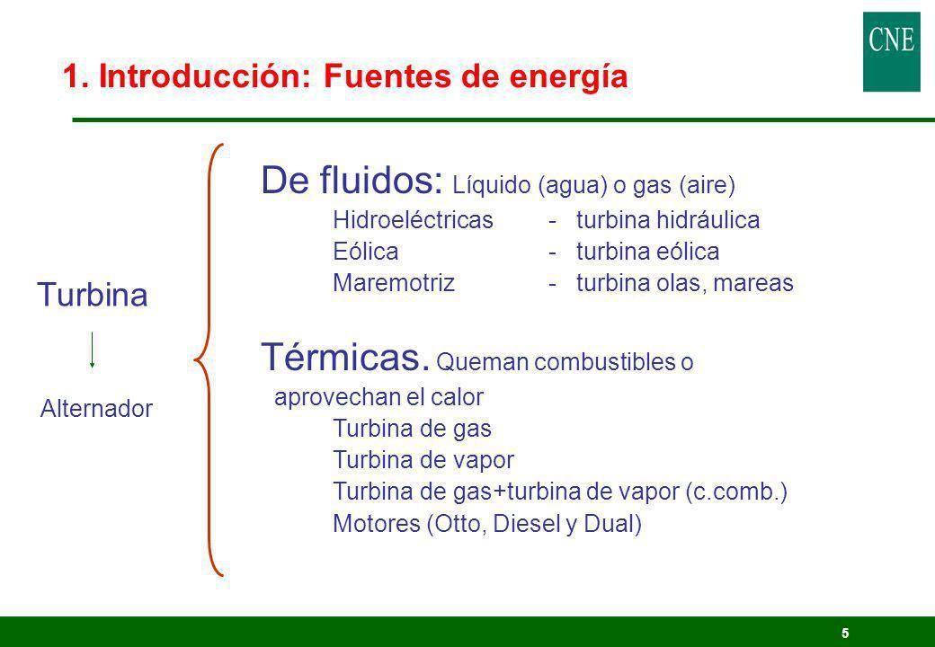 5 1. Introducción: Fuentes de energía De fluidos: Líquido (agua) o gas (aire) Hidroeléctricas- turbina hidráulica Eólica - turbina eólica Maremotriz -