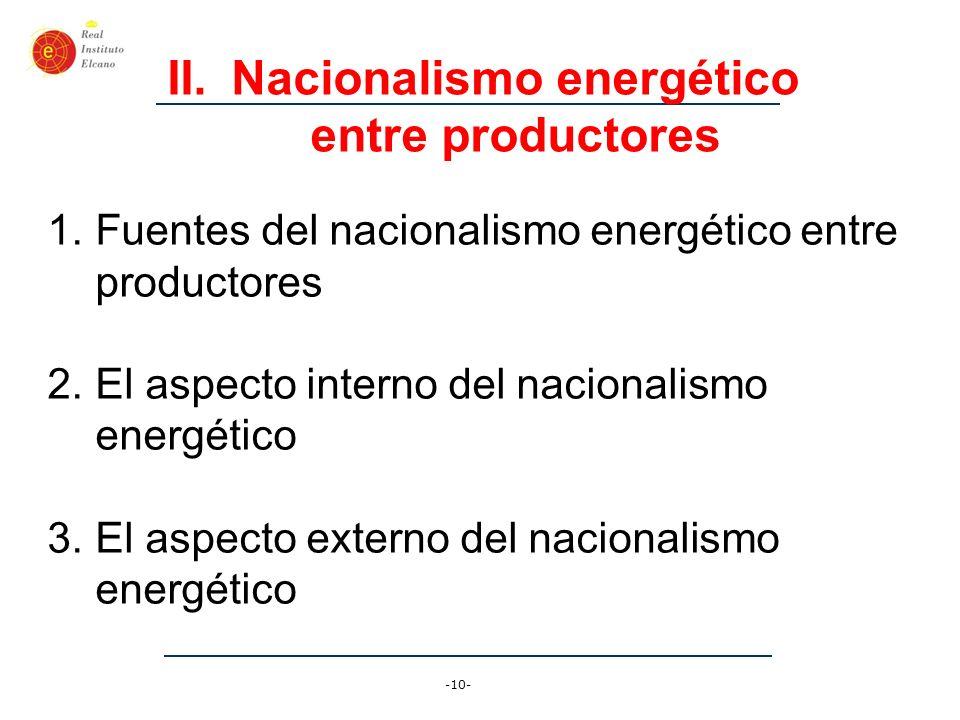 -11- II.(1) Fuentes del nacionalismo energético entre productores 1.Percepción del fracaso de la globalización y la integración económica internacional + 2.Fuerte aumento de precios, la posibilidad de captar más ingresos, y la tentación de aprovechar de ella (cóctel potente de motivos) 3.Formación de un eje de resistencia a EEUU (Venezuela, Rusia, Irán, y ¿más?)