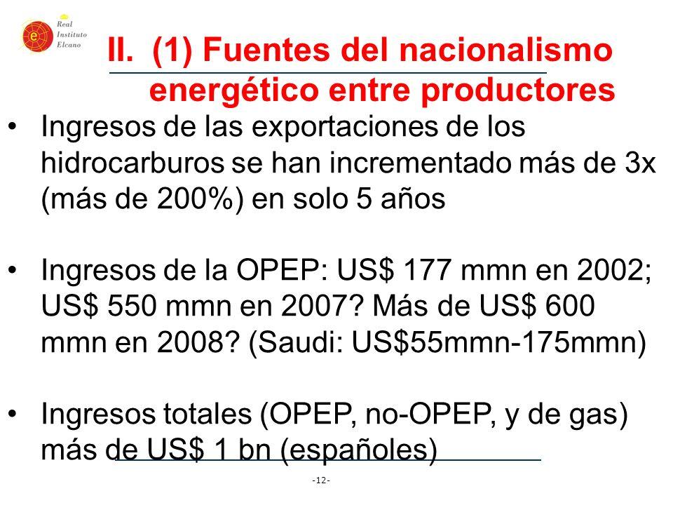 -12- II.(1) Fuentes del nacionalismo energético entre productores Ingresos de las exportaciones de los hidrocarburos se han incrementado más de 3x (má