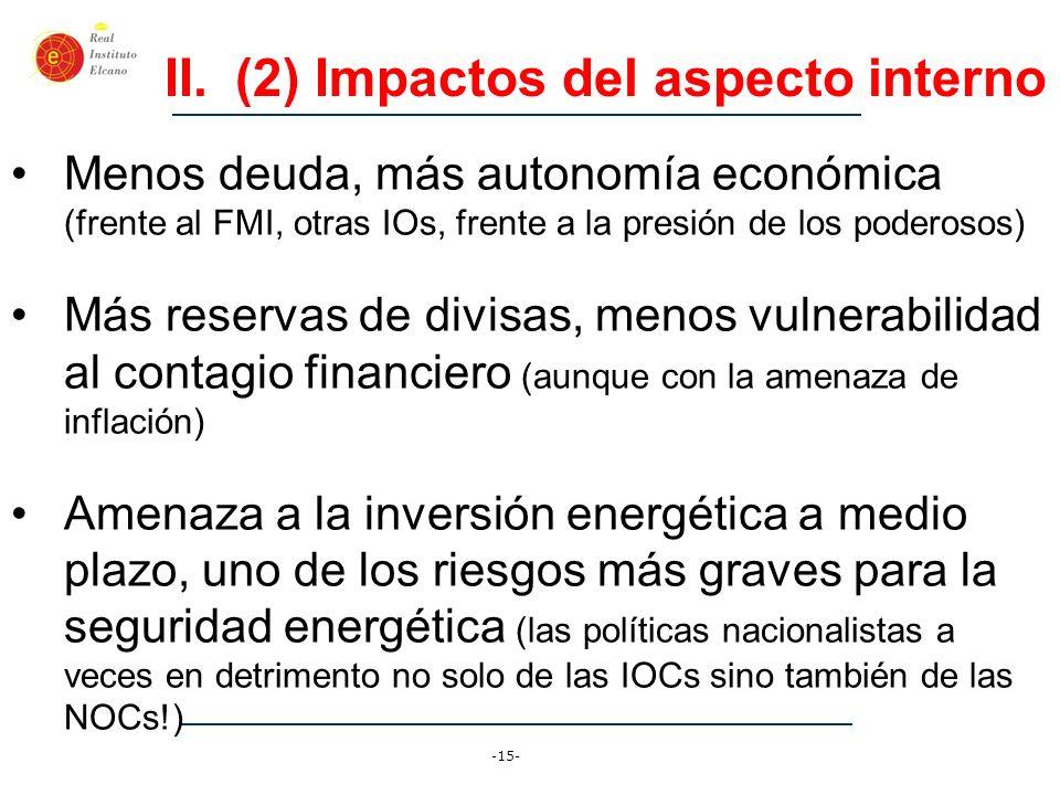 -15- II.(2) Impactos del aspecto interno Menos deuda, más autonomía económica (frente al FMI, otras IOs, frente a la presión de los poderosos) Más res
