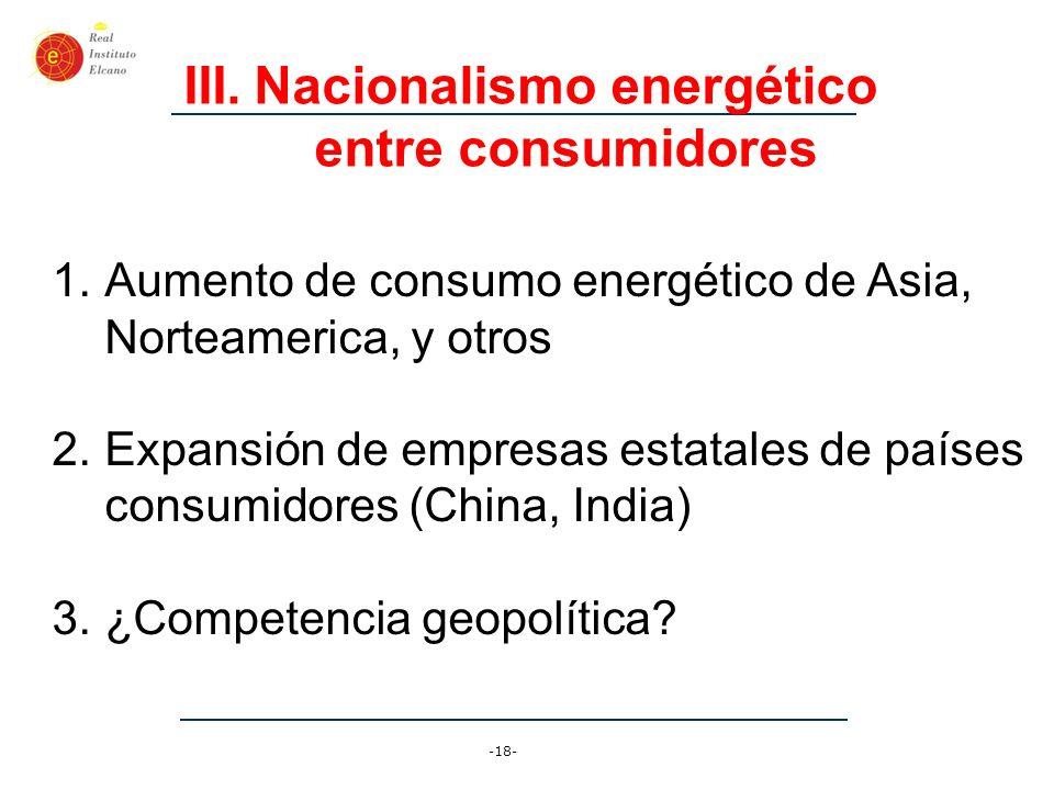 -18- III.Nacionalismo energético entre consumidores 1.Aumento de consumo energético de Asia, Norteamerica, y otros 2.Expansión de empresas estatales d