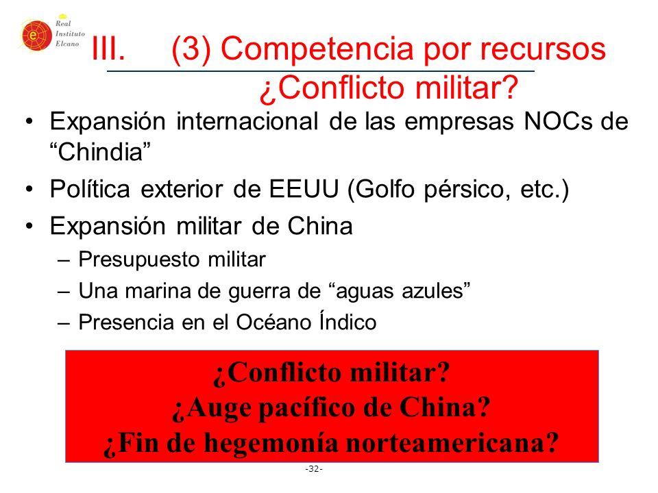 -32- III.(3) Competencia por recursos ¿Conflicto militar? Expansión internacional de las empresas NOCs de Chindia Política exterior de EEUU (Golfo pér
