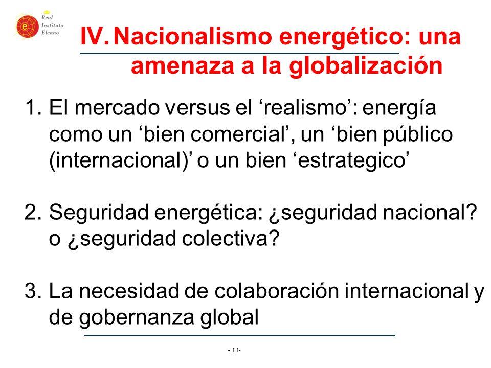 -33- IV.Nacionalismo energético: una amenaza a la globalización 1.El mercado versus el realismo: energía como un bien comercial, un bien público (inte