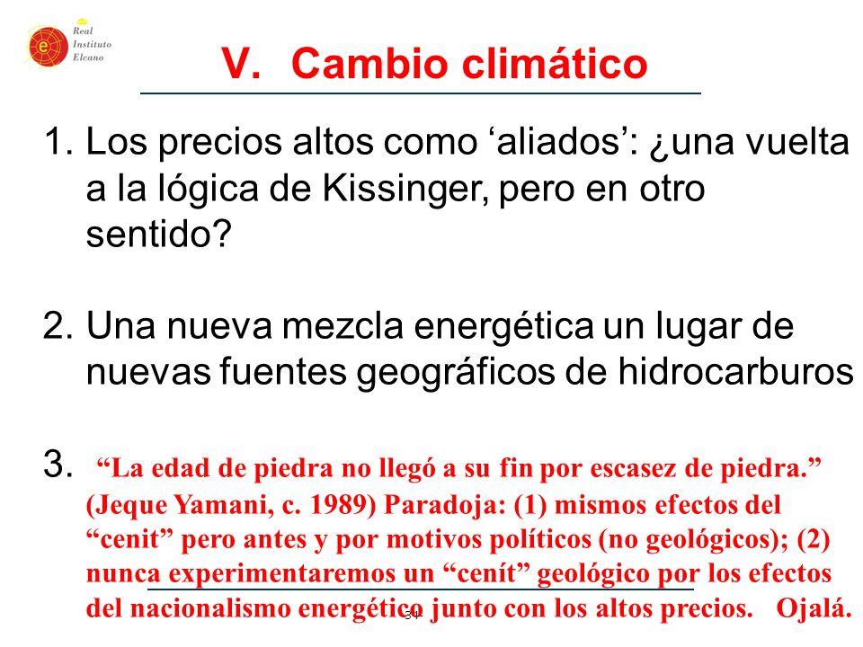 -34- V. Cambio climático 1.Los precios altos como aliados: ¿una vuelta a la lógica de Kissinger, pero en otro sentido? 2.Una nueva mezcla energética u