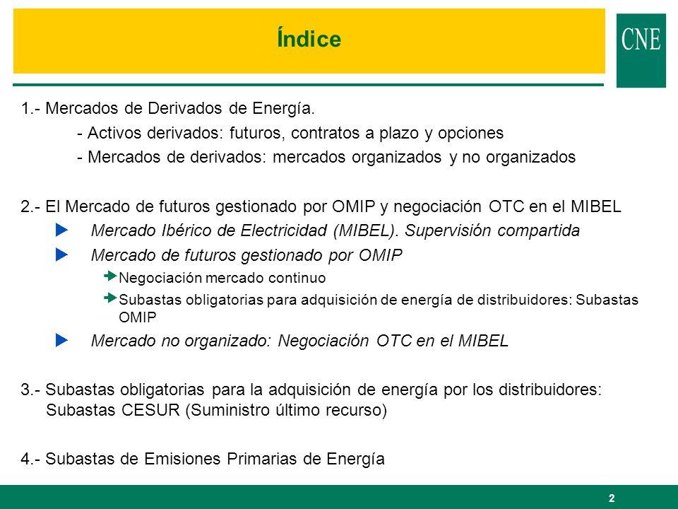 2 Índice 1.- Mercados de Derivados de Energía. - Activos derivados: futuros, contratos a plazo y opciones - Mercados de derivados: mercados organizado
