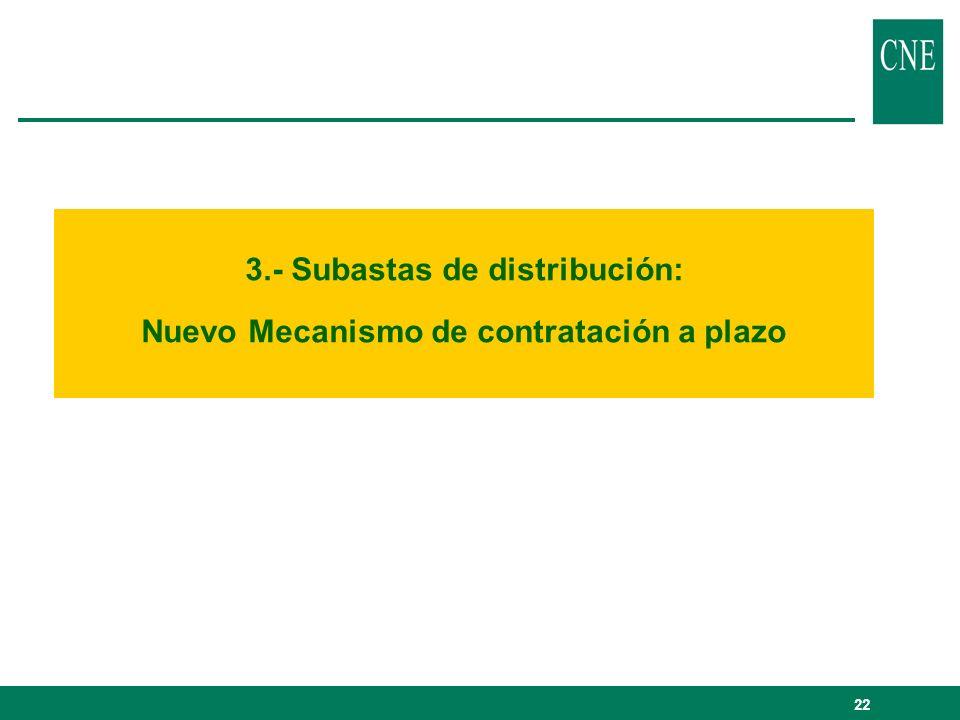 22 3.- Subastas de distribución: Nuevo Mecanismo de contratación a plazo