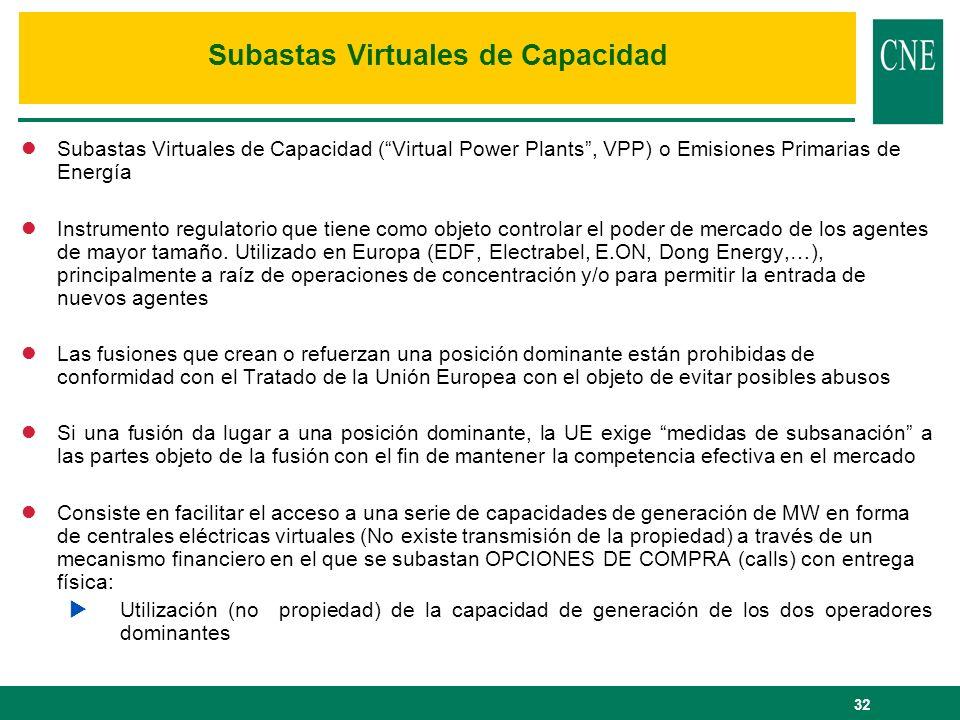 32 lSubastas Virtuales de Capacidad (Virtual Power Plants, VPP) o Emisiones Primarias de Energía lInstrumento regulatorio que tiene como objeto contro