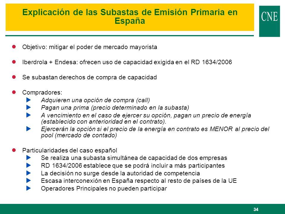 34 lObjetivo: mitigar el poder de mercado mayorista lIberdrola + Endesa: ofrecen uso de capacidad exigida en el RD 1634/2006 lSe subastan derechos de