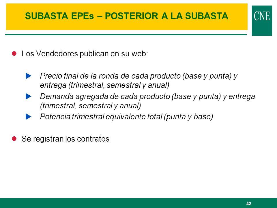 42 lLos Vendedores publican en su web: Precio final de la ronda de cada producto (base y punta) y entrega (trimestral, semestral y anual) Demanda agre