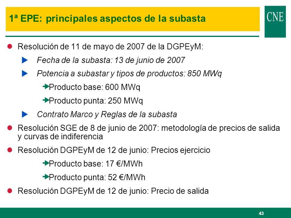 43 1ª EPE: principales aspectos de la subasta lResolución de 11 de mayo de 2007 de la DGPEyM: Fecha de la subasta: 13 de junio de 2007 Potencia a suba