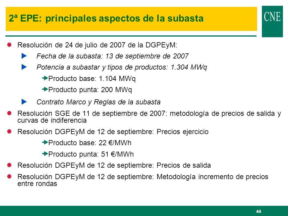 44 2ª EPE: principales aspectos de la subasta lResolución de 24 de julio de 2007 de la DGPEyM: Fecha de la subasta: 13 de septiembre de 2007 Potencia