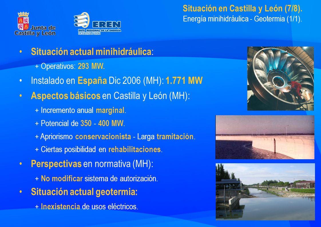 Situación en Castilla y León (7/8). Energía minihidráulica - Geotermia (1/1).