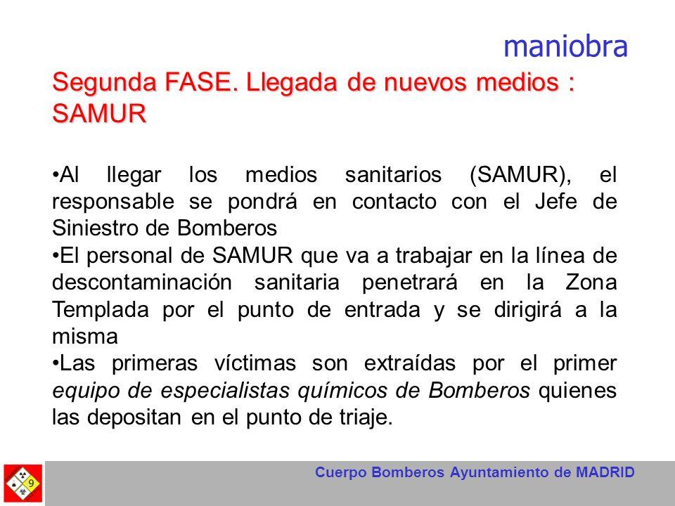 Cuerpo Bomberos Ayuntamiento de MADRID maniobra Segunda FASE. Llegada de nuevos medios : SAMUR Al llegar los medios sanitarios (SAMUR), el responsable