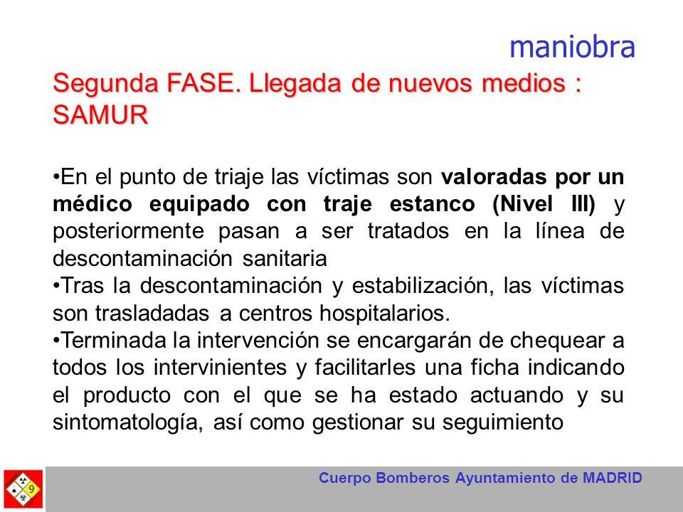 Cuerpo Bomberos Ayuntamiento de MADRID maniobra Segunda FASE. Llegada de nuevos medios : SAMUR En el punto de triaje las víctimas son valoradas por un