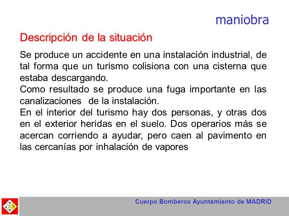 Cuerpo Bomberos Ayuntamiento de MADRID Descripción de la situación Se produce un accidente en una instalación industrial, de tal forma que un turismo